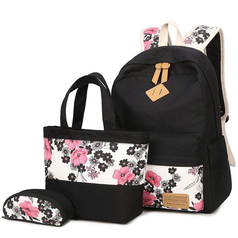 3bf5b13622  Set Women Printed Backpack Travel Bags Large Capacity Backpack Women  Preppy School Bags For Teenagers Vintage School Bag Backpack With Wheels  Dakine ...