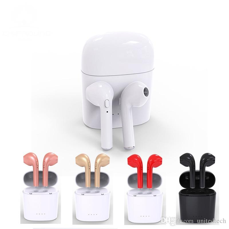 b3264210588 Wireless Headset Bluetooth Earpieces I7 I7S Tws Earbuds I7 Twins Earphone  With Charging Box Earphones For IPhone 8 X Samsung S9 Smartphone Wireless  Cell ...