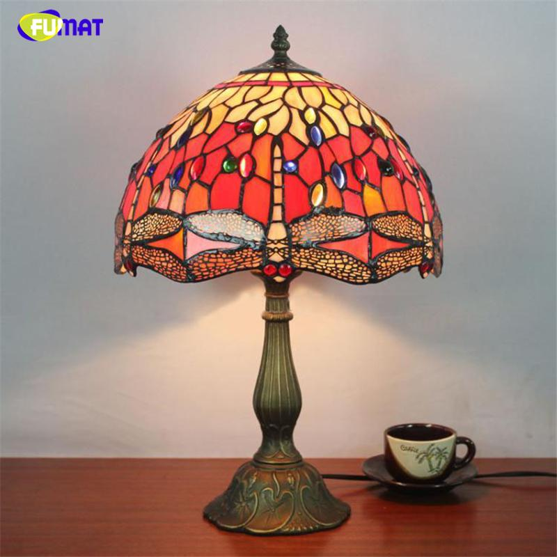 2019 Fumat 12 Inch Dragonfly Stained Glass Lampshade Light Tiffany