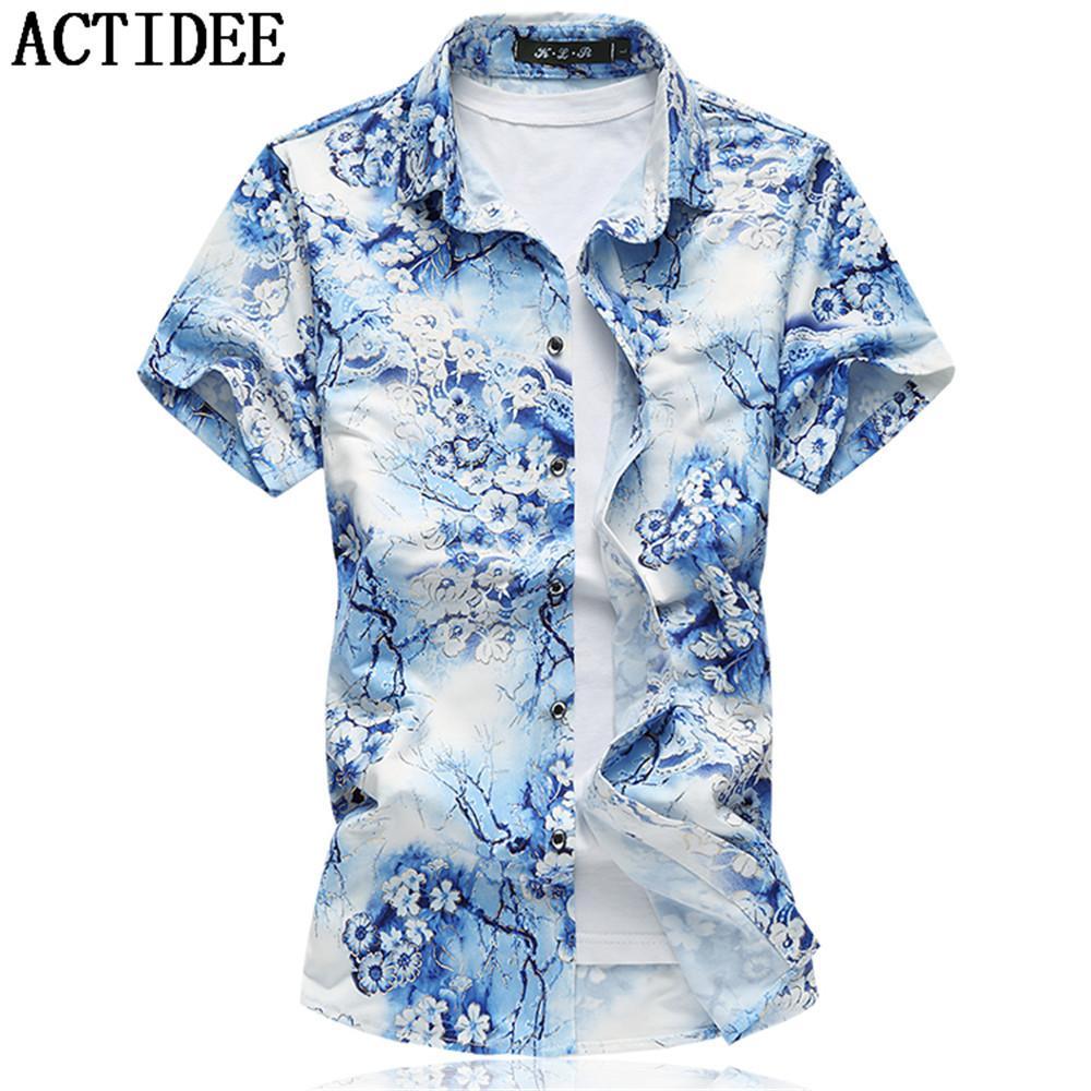 2019 New Fashion Short Sleeve Silk Hawaiian Shirt Men Summer Casual Floral  Shirts Men Plus Size 3XL 4XL 5XL 6XL 7XL 5z Y1892101 From Tao01 ffccef5cee48