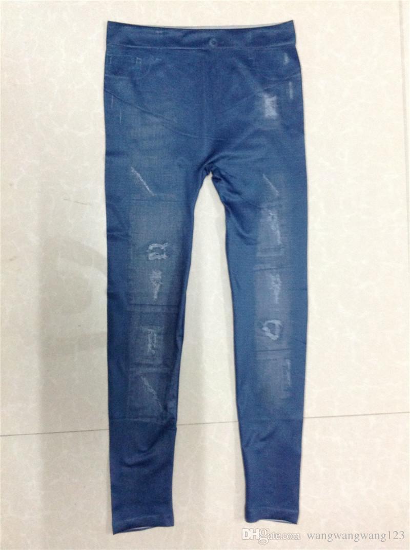 Europa Rusia pop marea mujeres pantalones vaqueros delgados de mezclilla azul botón de bolsillo grande decoración mezclado costura Pane Splice Casual señora delgado lápiz pantalones