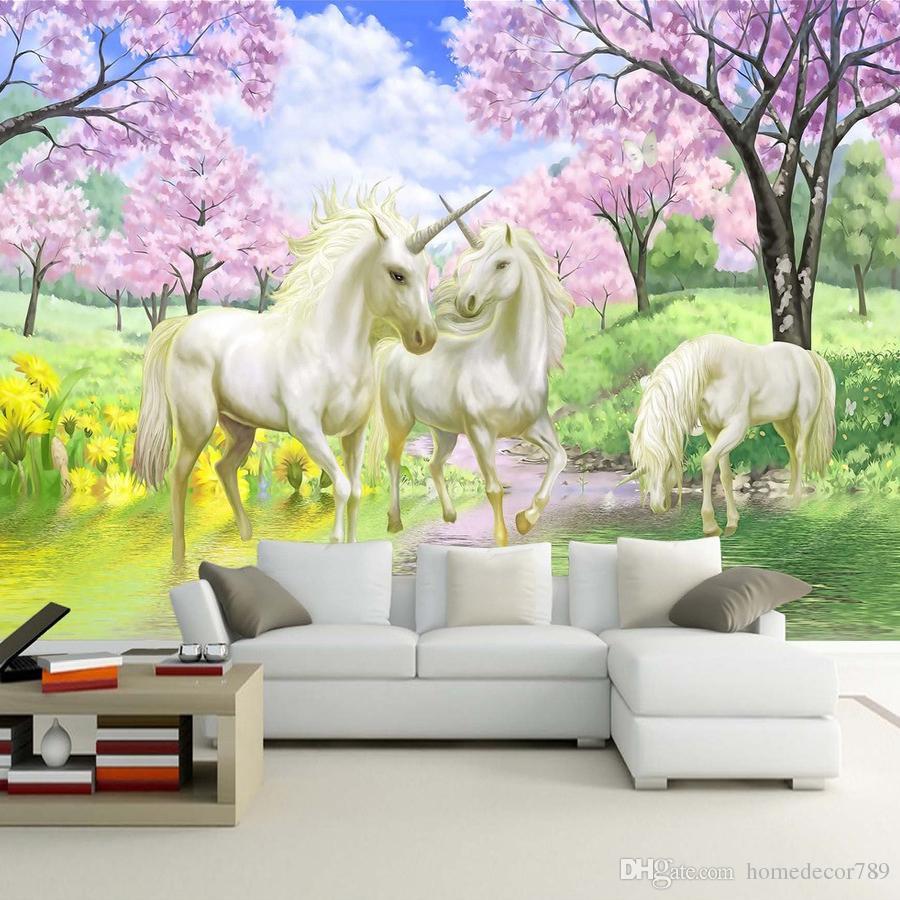 Custom 3D Mural Wallpaper Unicorn Dream Cherry Blossom TV Background Wall Pictures For Kids Room Bedroom Living Room Wallpaper