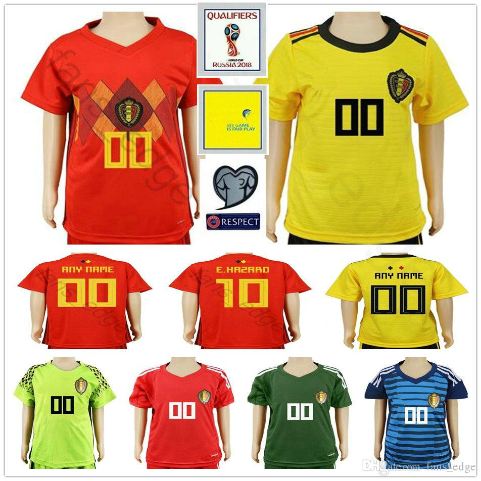 2019 2018 World Cup Belgium Soccer Jerseys Kids 18 Belgique Home Red Away  Yellow Custom HAZARD Belgien Child Youth Goalkeeper Shirts Uniforms From  Fans edge ... 909643cf2