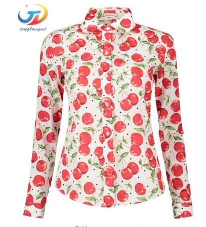 5594e1333 2019 Women Shirts Long Sleeve Vintage Floral Blouse Cherry Turn Down Collar  Shirt Blusas Feminino Ladies Blouses Women Plus Size From Tlwlwork, ...