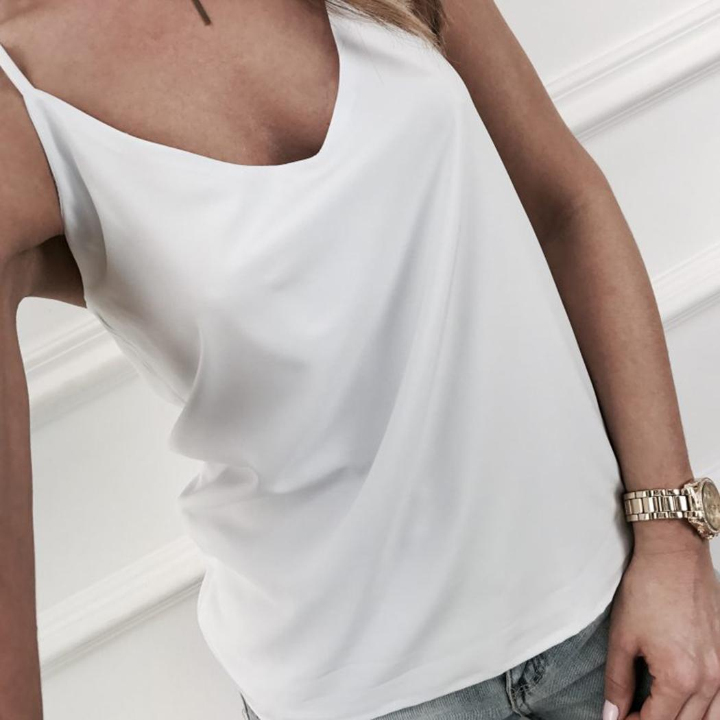 4069dfa074 2019 Sexy Women Strap Tank Tops Vest Satin Lace Camisole Silky Camis Silk V  Neck Loose Spaghetti Tops Casual Tees Camisa Black White From Matilian, ...