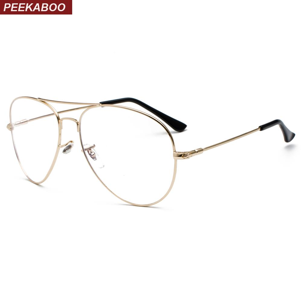 c87e71485711 2019 Peekaboo Memory Metal Eyeglasses For Women Optical 2019 Gold Big Anti  Blue Light Glasses Frame For Men Computer From Xiamenwatch