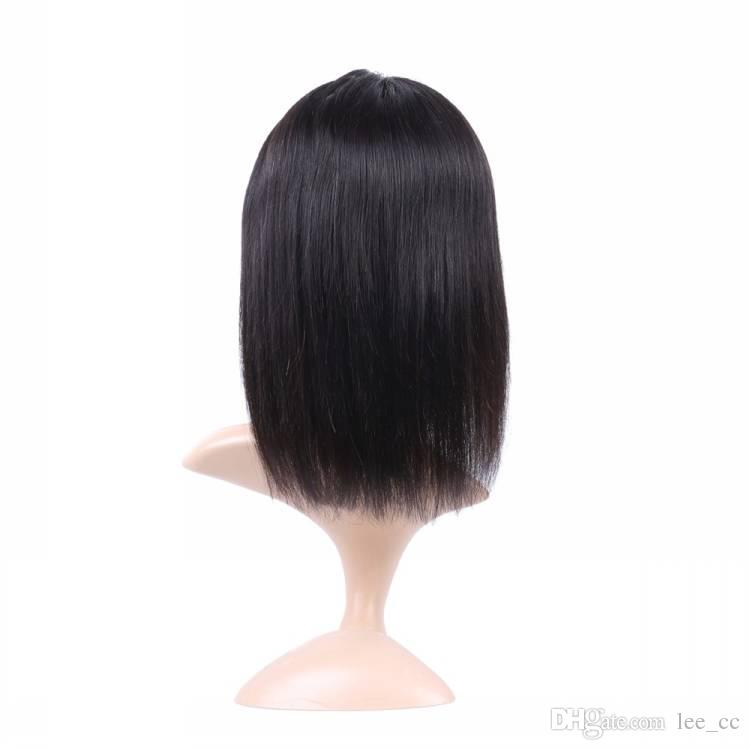 Short Human Hair Wigs For Women Bob Lace Front Wig Straight Brazilian Frontal Wig With Baby Hair Natural Black Remy Hair