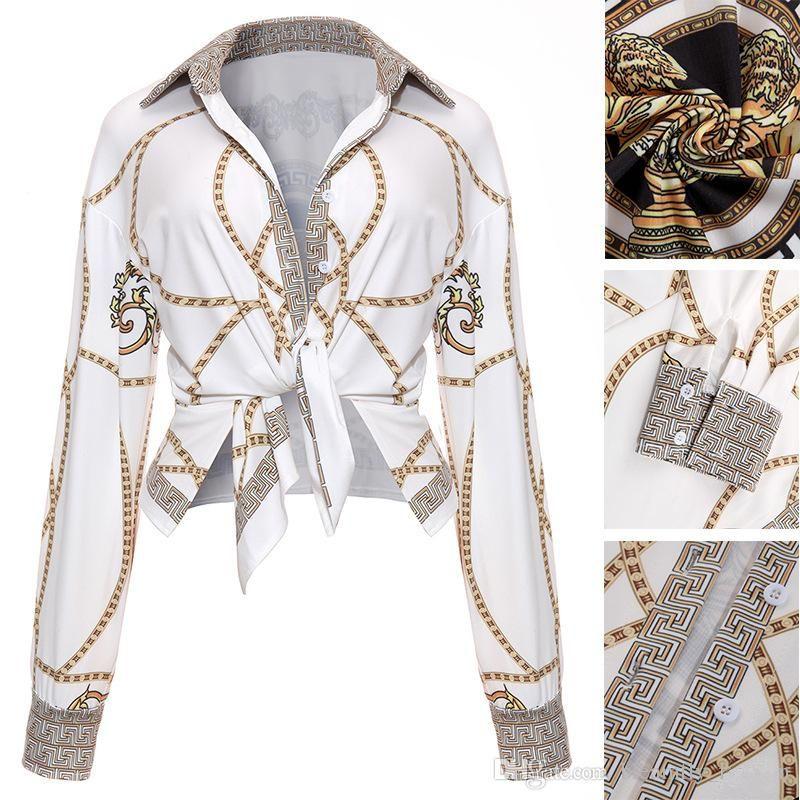 2019 мода золотая цепочка женские рубашки с длинным рукавом сексуальные женские топы офис клуб ну вечеринку блузки отложным воротником женская рубашка одежда