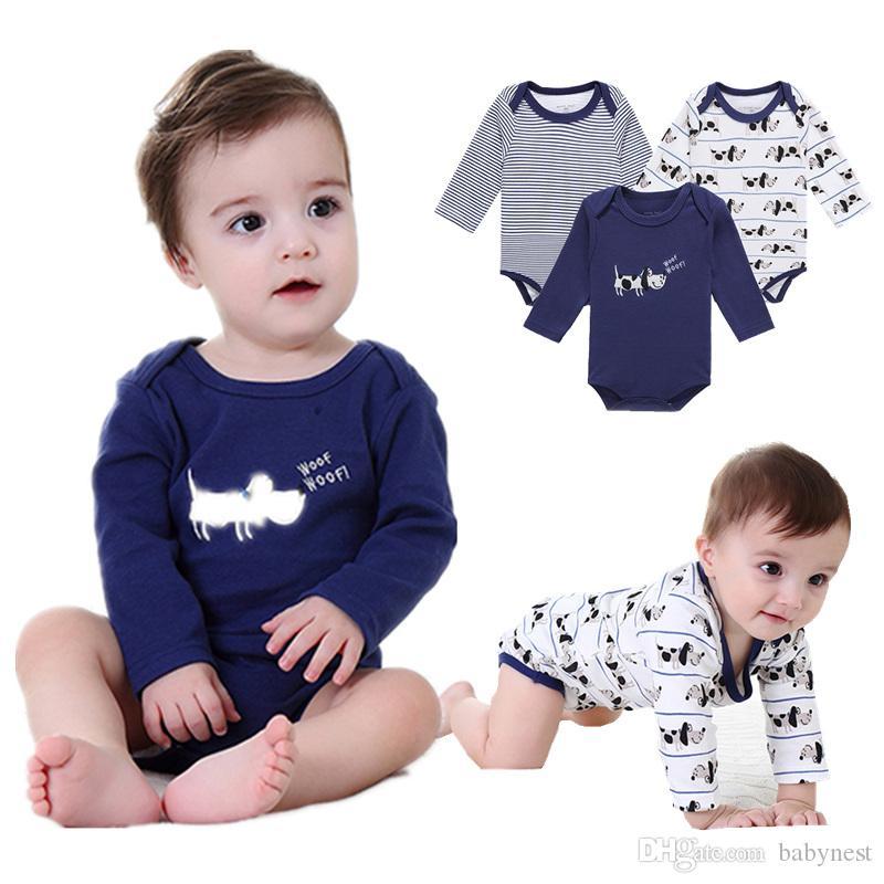 4449c38e210d 2019 Baby Boy S Rompers Long Sleeve Pajamas Cartoon Navy Blue 100 ...
