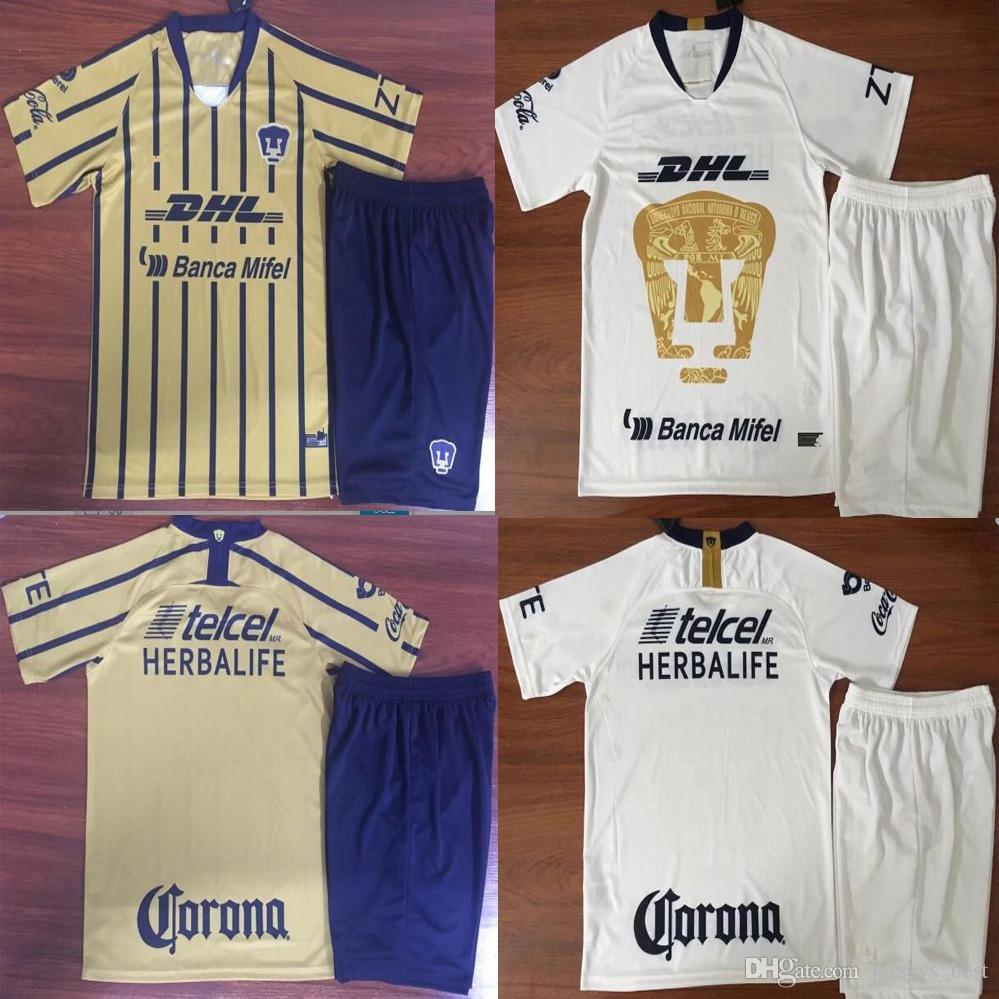 2e3bdd0ff7 2019 Top Quality Adult Kits 2018 2019 MEXICO Club UNAM Universidad Van  Rankin Soccer Kits Castillo Cougar SOSA 18 19 Mens Football Sets From  Jerseys best