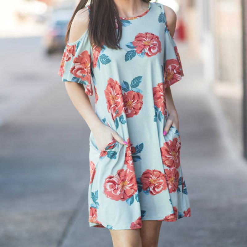 24e993434310 Sexy Off Shoulder Beach Pockets Sundress Boho Summer Mini Dress 2018 Floral  Printed Casual Loose A Line Dresses Plus Size GV249 Purple Lace Maxi Dress  Short ...