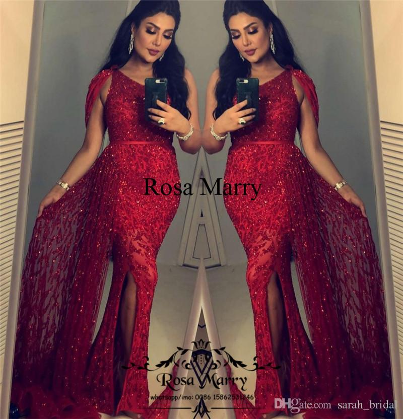 Sparkly Red Sequined Mermaid Evening Dresses 2018 Plus Size One