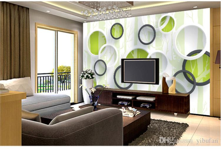 Custom 3D Mural Wallpaper Modern Geometric Circles Non-woven Wallpaper Roll For Living Room TV Background Wall Covering Paper