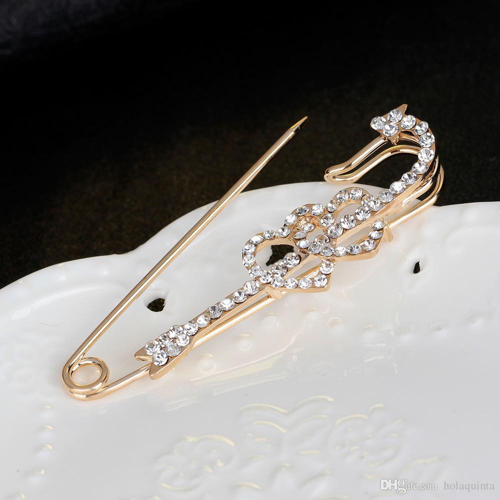 Double Heart broches pinos para as mulheres de colarinho pinos Cupido amor seta jóias de casamento
