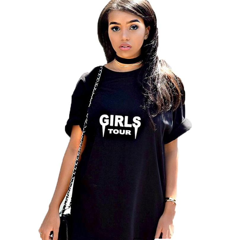 Compre Meninas Tour T Shirt Tumblr Rua Do Punk Harajuku Moda Feminina Tops  Preto Branco Camiseta Hip Hop Estilo Haut Femme De Caicloth 005a4875d73dc