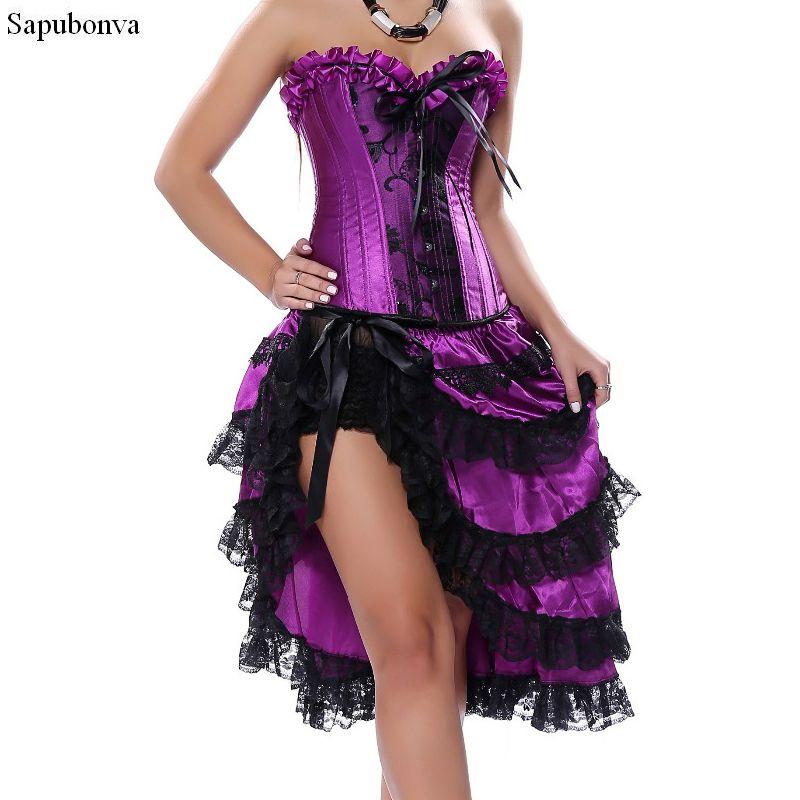 10890c7695b 2019 Sapubonva Victorian Corset Dress Gothic Sexy Burlesque Exotic Tutu  Skirt Corset Party Long Overbust Bustier Black Purple From Baicao