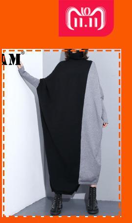 [EEM] 2018 Yeni Sonbahar Kış Yaka Uzun Kollu Siyah Vent Hem Düzensiz Gevşek Büyük Boy Gömlek Kadın Bluz Moda Gelgit JH640