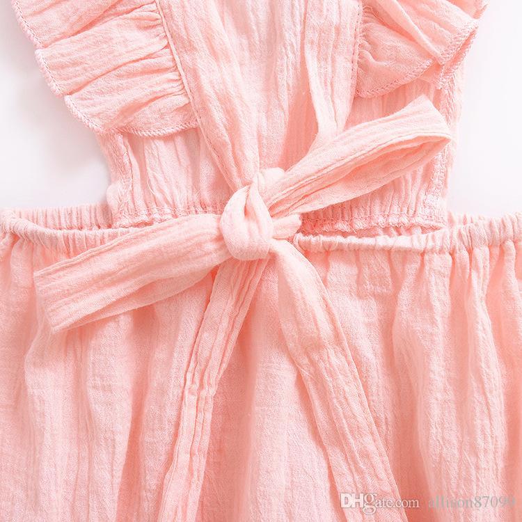 Maternity Ins Baby Girl Jumpsuit 2019 Verano Ropa de bebé Flutter Sleeve Back cross Mamelucos Jumpsuits de algodón suave 70-80-90-100 6M-24M