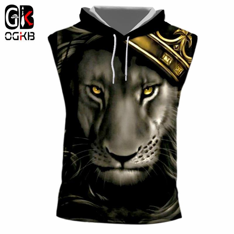 Compre OGKB Crown Lion King Impresso 3D Regata Com Capuz Das Mulheres Dos  Homens Hiphop Do Punk Musculação De Fitness Camisas Sem Mangas Casuais Com  Capuz ... 3e5171c030d