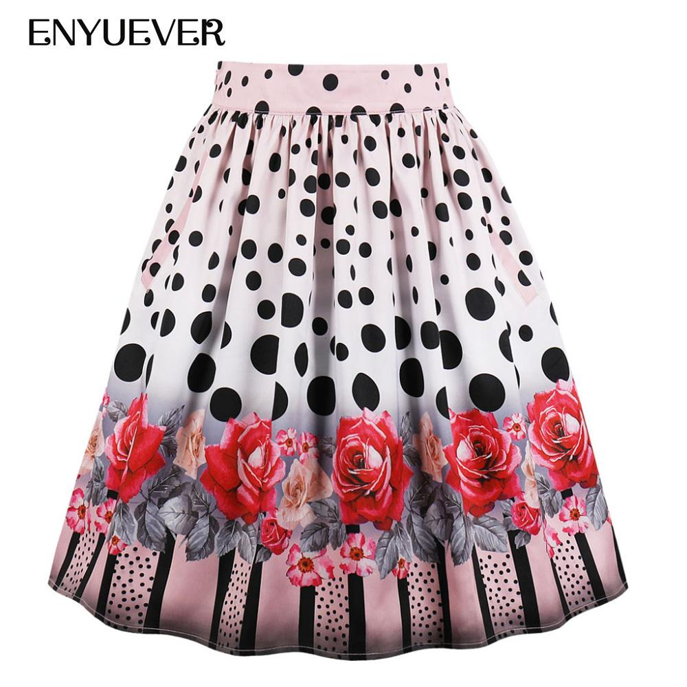 08db908f836 2019 Enyuever Plus Size Pleated Skirt 2018 High Waist Polka Dot Floral  Print Pinup Midi Summer Faldas Mujer Women Skirts With Pockets From Aimea