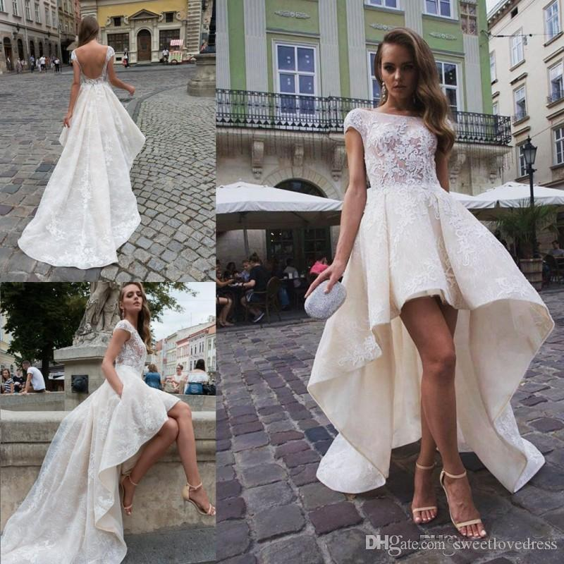 727ab28d5 Discount Fashion Summer High Low Ivory Lace Wedding Dresses With A Line Cap  Sleeves Backless Bateau Neck Short Bridal Gowns Custom Made Cheap Wedding  ...
