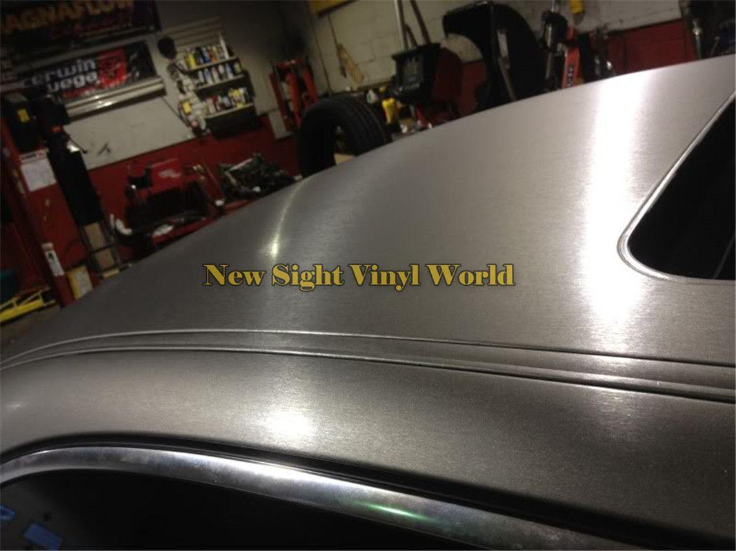 Alta qualidade cinza titanium escovado envoltório de vinil para adesivos de carro bolha de ar livre tamanho: 1.52 * 30 m / roll