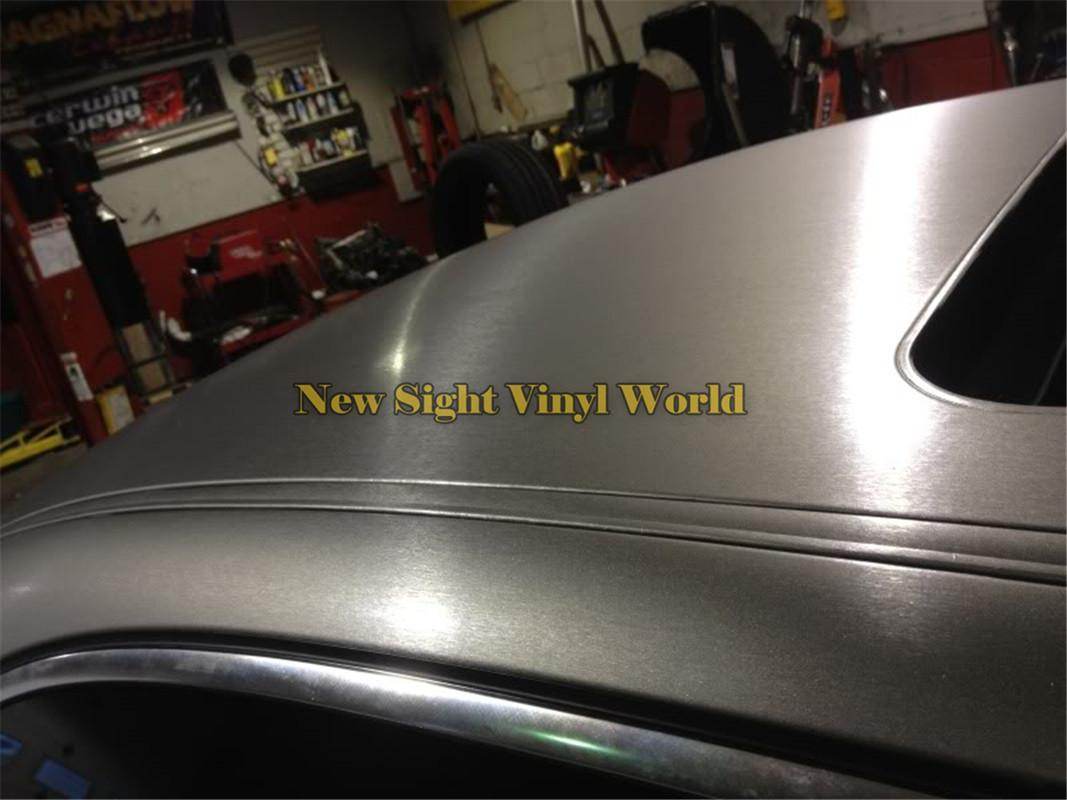 High Quality Gray Titanium Brushed Vinyl Wrap For Car Stickers Air Bubble Free Size: 1.52*30M/Roll