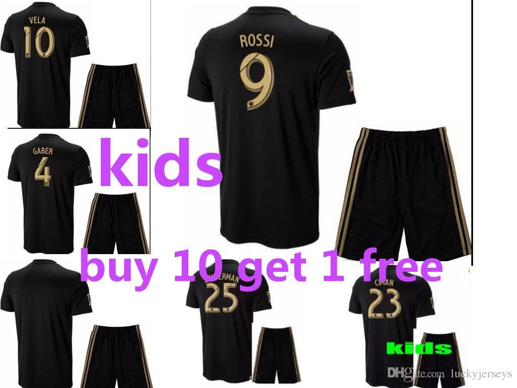 3f3e94d76 NEW Arrived 2018 Kids Kit LAFC Carlos Vela Soccer Jerseys 18 19 Home GABER  ROSSI CIMAN ZIMMERMAN Home Away Football Shirt Los Angeles Fc Kids Kit ROSSI  VELA ...