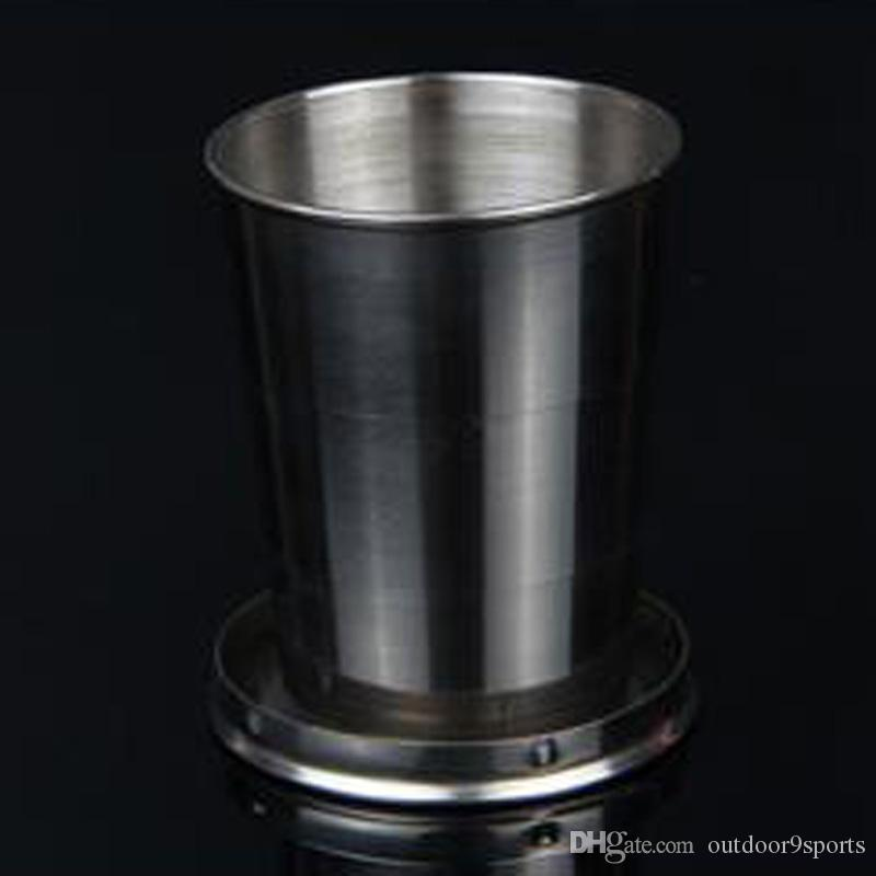 New Stainless Steel Travel Outdoor Portable Folding Water Cup Camping Kitchen Foldable Collapsible Drink Wine Cup