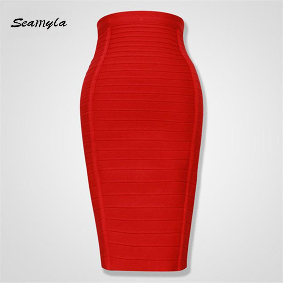 b26cf4c61 Seamyla 2018 Mujeres Falda Lápiz Moda Rojo Azul Negro Naranja Bodycon  Faldas del vendaje Sexy Longitud de la Rodilla Rayas Midi FaldasY1882501