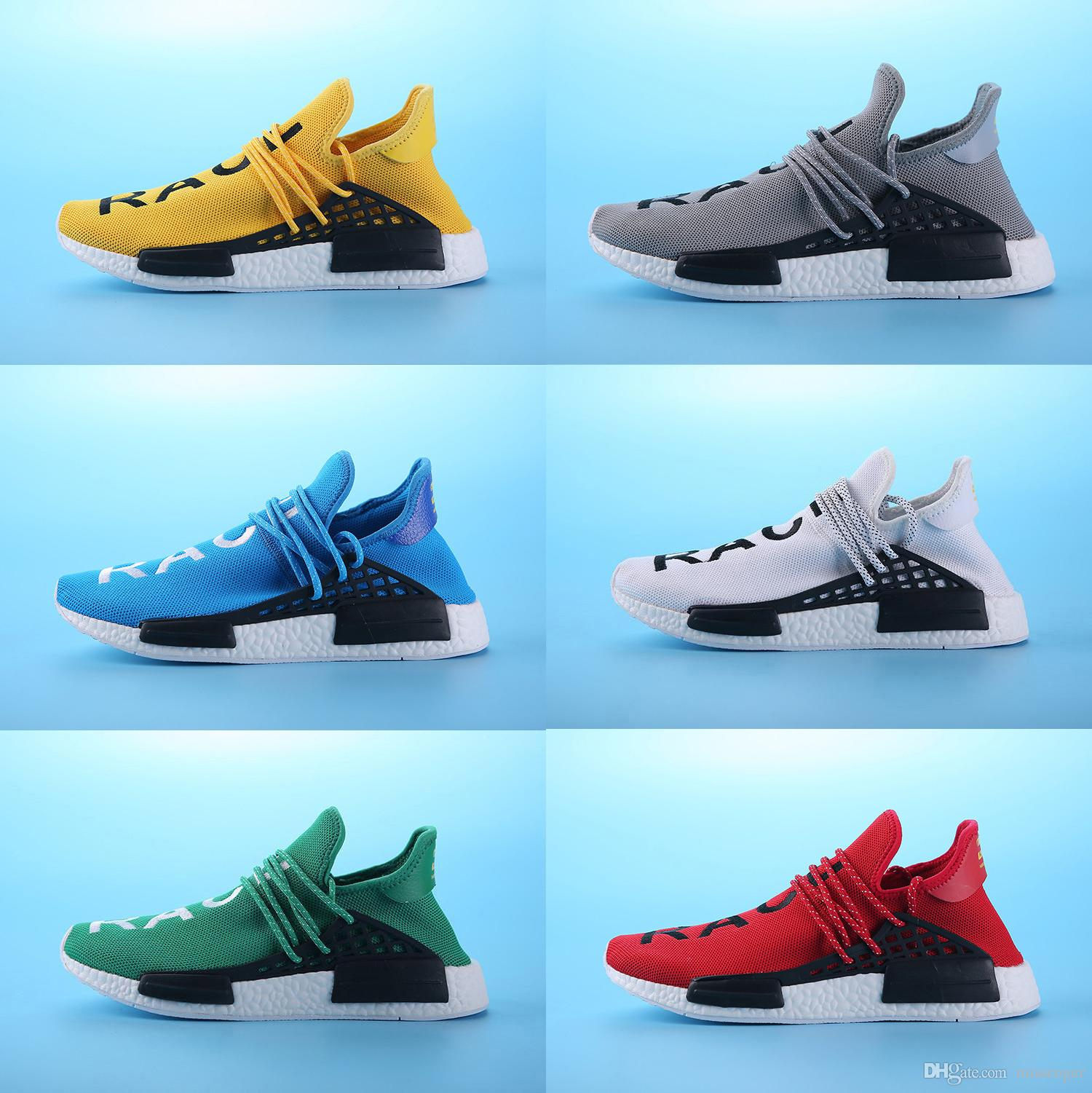 designer fashion e58ae b75c8 Human Race Factory Real Boost Yellow Red Green Black Orange Men Pharrell  Williams X Human Race Running Shoes Sneakers