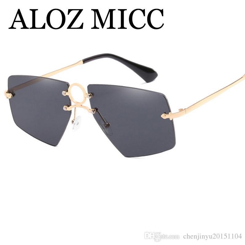 27c02cdd883 ALOZ MICC New 2018 Fashion Rimless Frame Sunglasses Women Brand Designer Retro  Square Mirror Sun Glasses For Men UV400 A438 Suncloud Sunglasses Foster  Grant ...