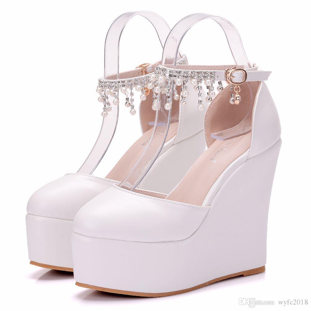 sports shoes 1a614 8d301 Scarpe da donna sexy bianche con zeppe, sandali con tacco alto, scarpe da  donna con tacco alto 13 cm, stile estivo donna