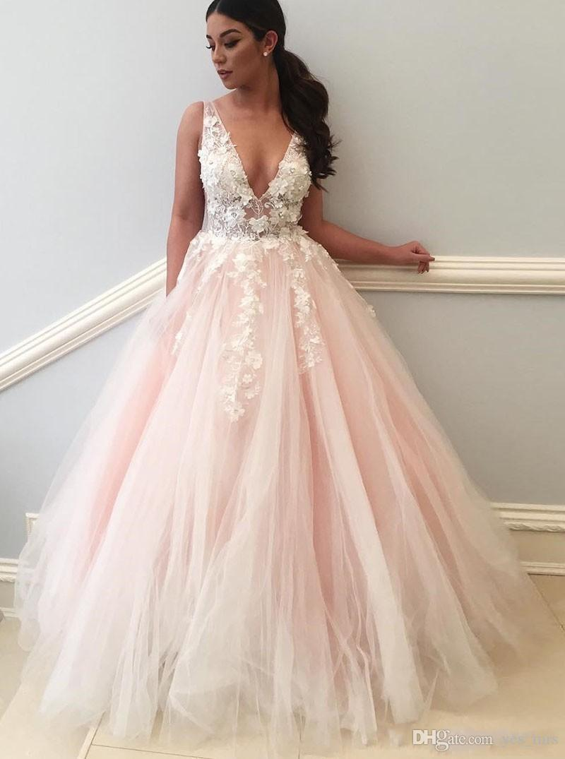 d99285b8ad9 2019 Sexy Deep V Neck Pink Evening Dresses Wears Illusion Lace Appliques 3D  Flowers Open Back Long Tulle Plus Size Party Prom Gowns Size 20 Evening  Dresses ...