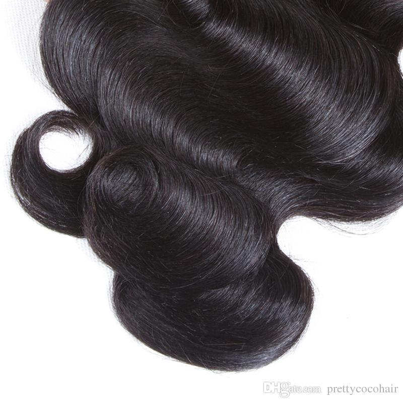 La onda brasileña del cuerpo del pelo humano sin procesar 8A cose en extensiones suaves y gruesas del pelo de la Virgen paquetes de la armadura del cabello humano de Remy 100g