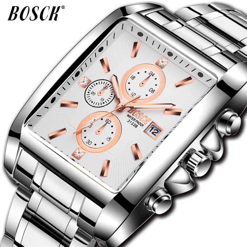 BOSCK Fashion Business Watch for Men Top Brand Luxury man square Quartz Watch Sport Full Steel Waterproof clock affordable 2018