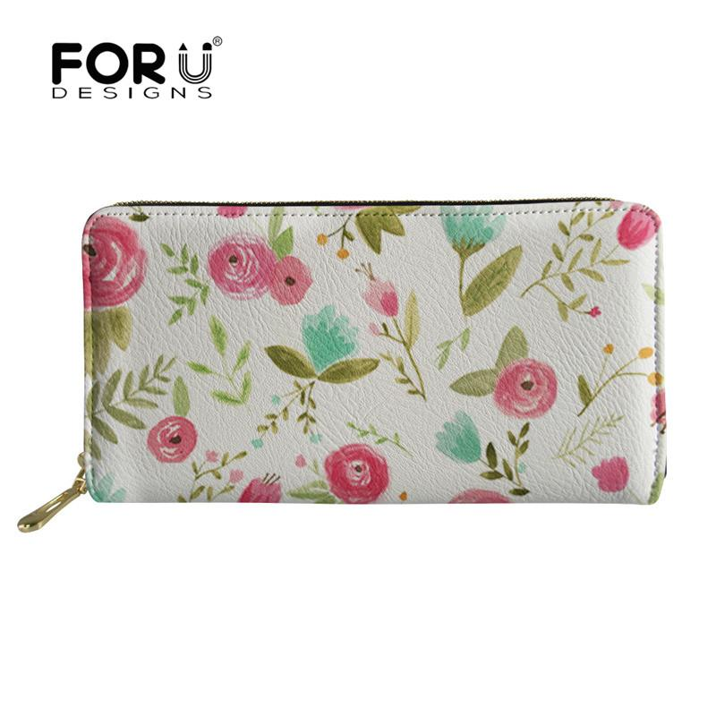 forudesigns happy floral printing wallets leather lady purses large