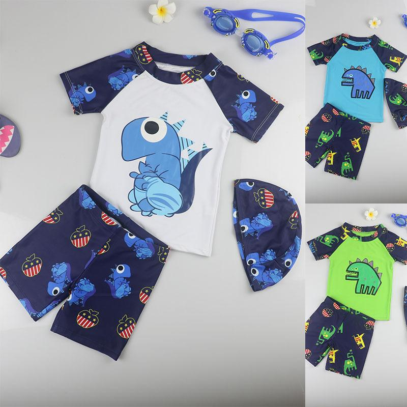 Small Dinosaur Fast Drying Bathing Suit Bathing Suit Baby Boys Swimsuit  Children's Split Swimwear for 0-48 Months with Hat