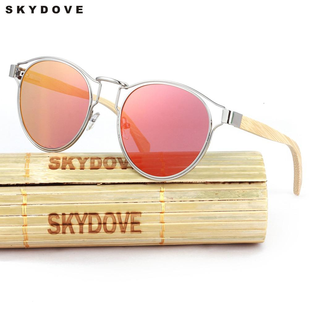 ad2a60f8e3a SKYDOVE Polarized Bamboo Sunglasses Women Round Alloy Oval Mirror Sunglasses  Girls Mirror Wood Polarized Kids Running Sunglasses Sunglasses Case From ...