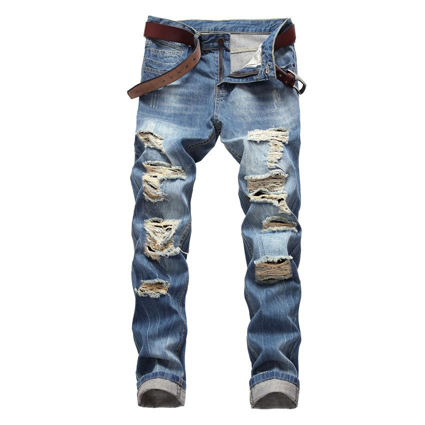 73f9ad633bb 2019 Male Shredded Jeans Slim Straight Light Blue Denim Pants Plus Size  Washed Pleated Ripped Jeans For Men Mid Waist Hole Men From Dreamcloth, ...