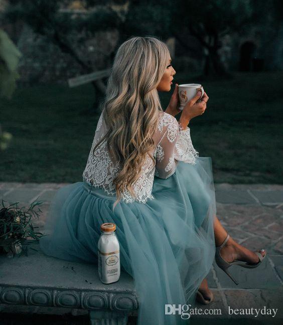 Beyaz Mavi Kokteyl Elbiseleri Uzun Kollu Ucuz Parti Arapça Kadınlar Dantel Tül Kısa Balo Elbise Orta Doğu İki Adet Parti Abiye
