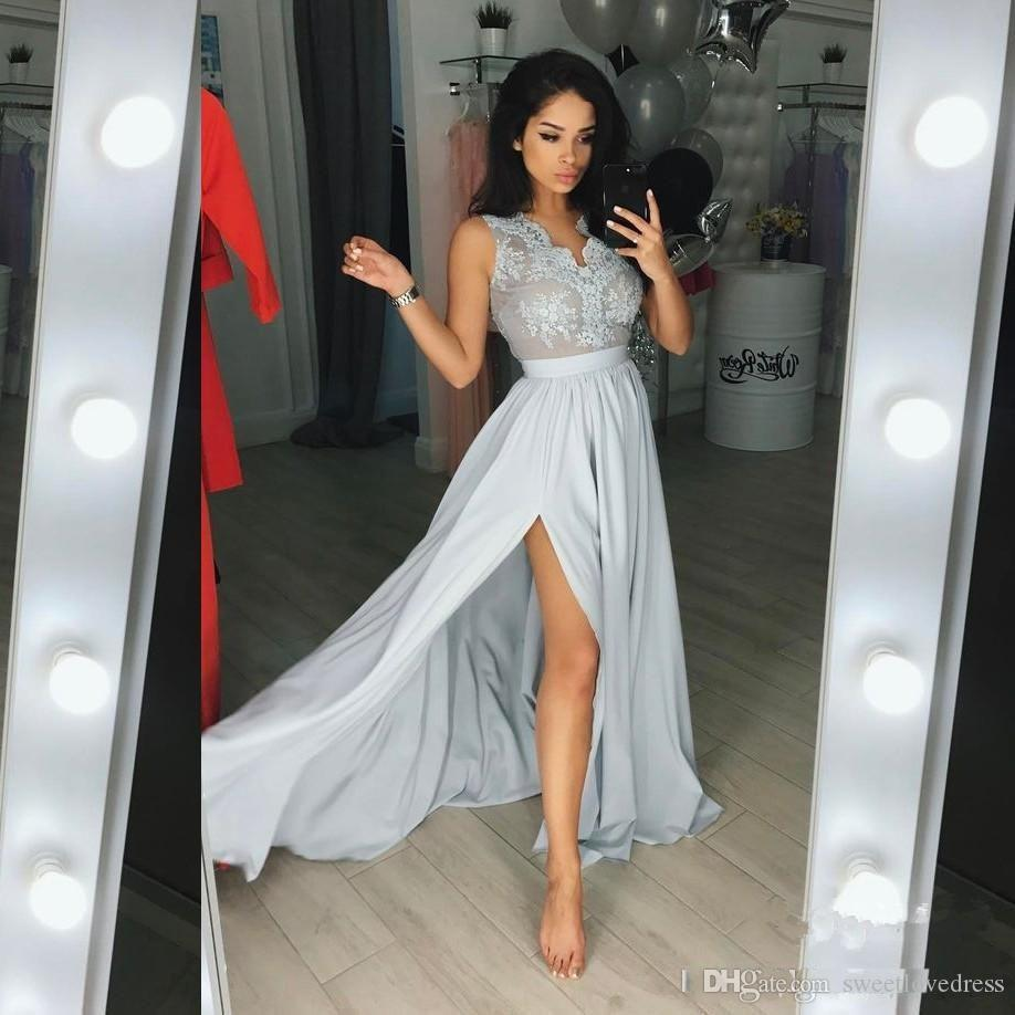2018 Sleeveless Split Floor Length Long Prom Dresses Formal Custom Made Sexy  Silver Gray Lace Chiffon Evening Gowns Cheap Blue Prom Dresses Chiffon Prom  ... 3b65868f5