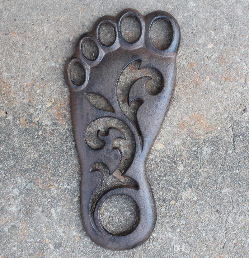 / Foot Shape Cast Iron Door Mat Home Metal Welcome Stepping Doormat Outdoor Inside Plaque Right Left Garden Patio Courtyard Lawn Decor Antique Brown
