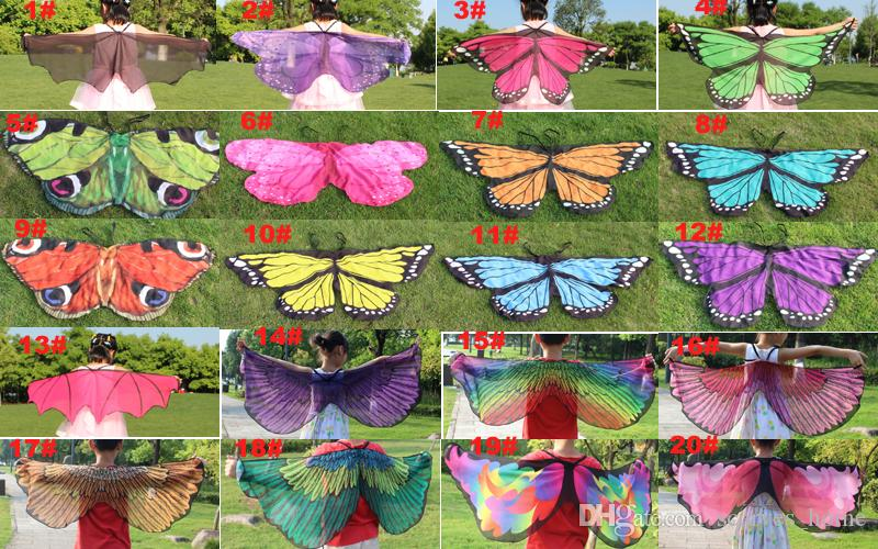 Kids Girl Princess Cloak Fairy Butterfly Costume Wings Monarch Chiffon Children Fancy Cape Dress Gift Festival Pixie Cosplay Chiffon Scarves