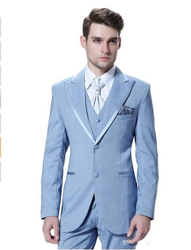 b82e6df54cd785 Brand New Light Blue Men 3 Piece Suit Wedding Tuxedos Groom Tuxedos Peak  Lapel Two Button Men Dinner Prom Blazer(Jacket+Pants+Tie+Vest ) 640