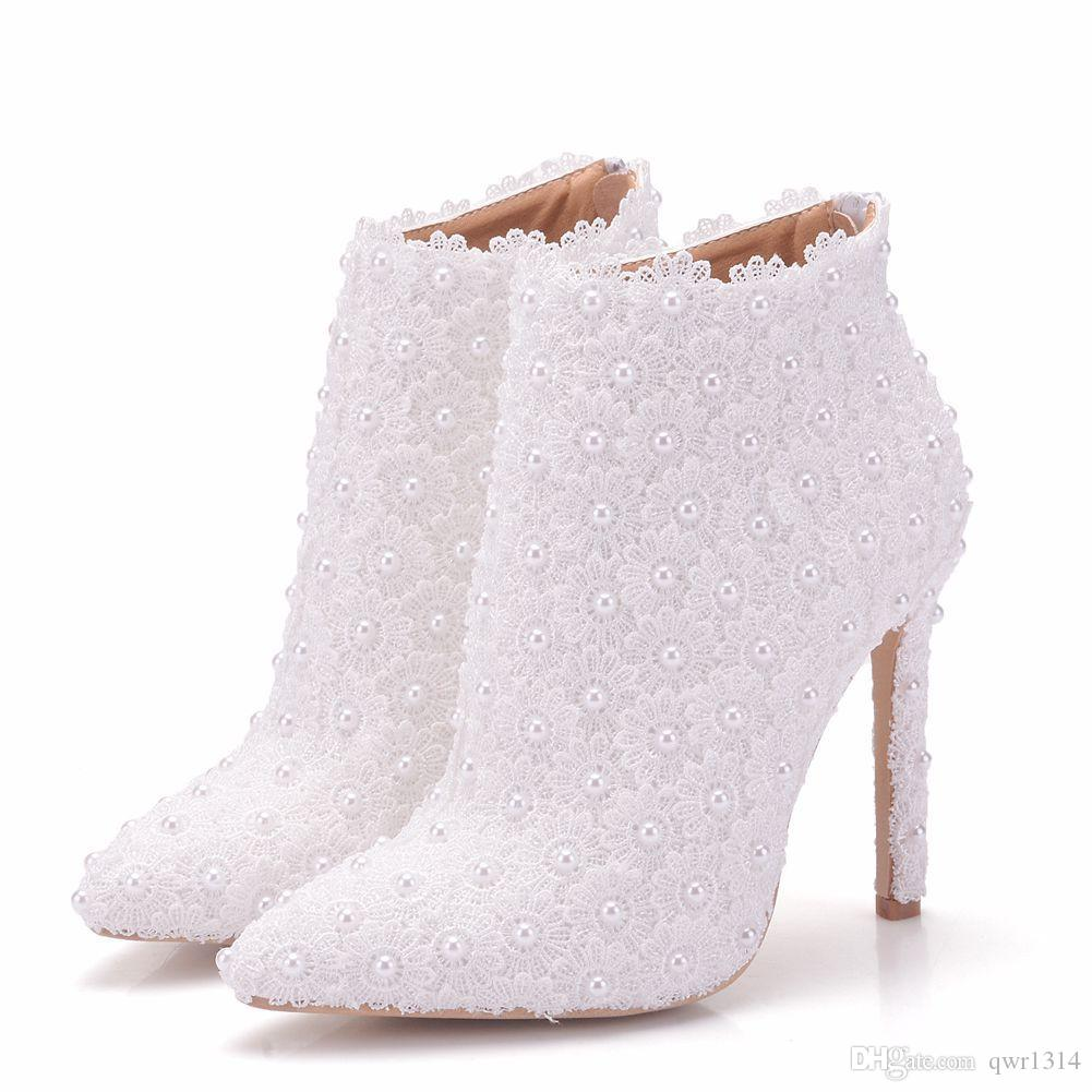 New pointed toe shoes for women white pearls heels wedding shoes thin heel fashion boots lace flowers Plus Size Bridal martin boots