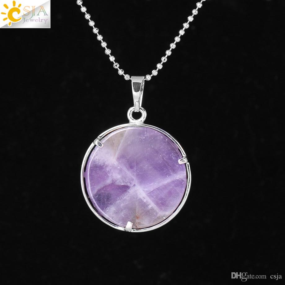 CSJA Fashion Sun Moon Necklace Natural Stone Flat Round Beads Pendant Reiki Healing Jewelry for Women Men Lucky Mascot Charms Gift F335 A