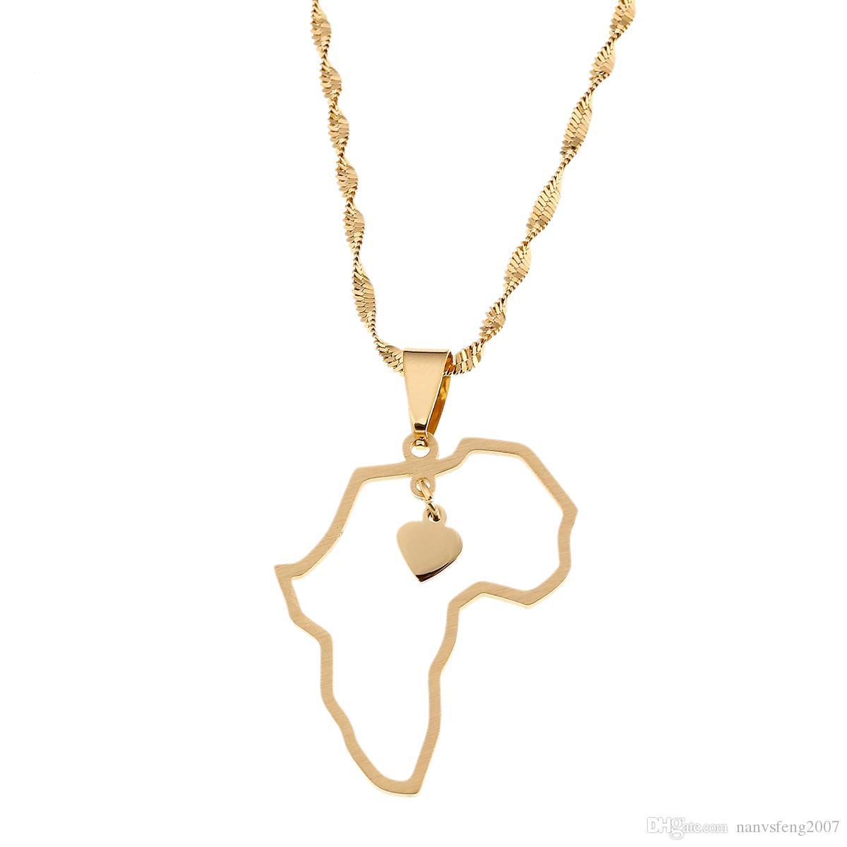 488bcf18faa2 Compre Chapado En Oro De Acero Inoxidable Mapa Africano Collar Colgante  Joyería Encanto Del Corazón Mapa De África Continente Joyas A  5.02 Del ...