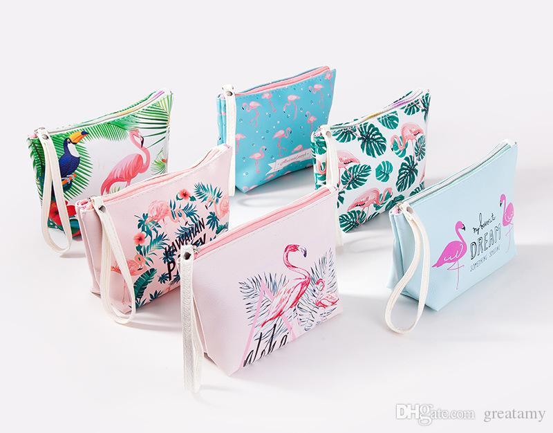 3d378f2d0b0d Multifunctional lady PU zipper cosmetic bag Flamingo waterproof and  dustproof travel toiletries storage bag girls coin handbag