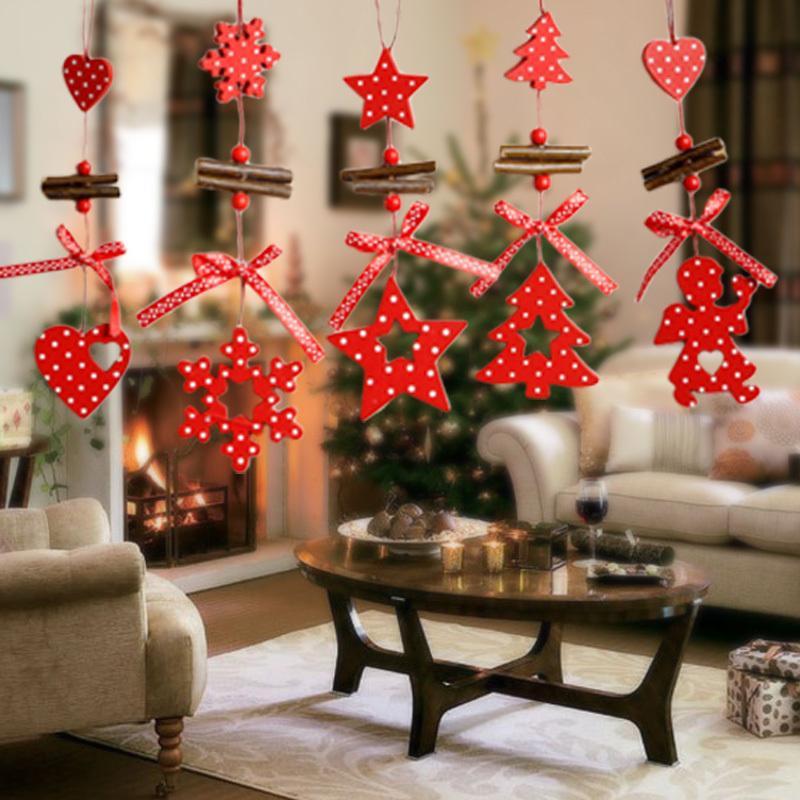2018 Wind Chimes Christmas Pendant Tree Ornaments Snowflake Heart Star Bell Xmas Party Home Christmas Decor Navidad Decoration